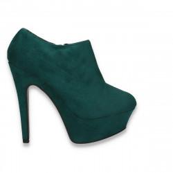 Pantofi dama inalti, din imitatie velur, verde - LS419