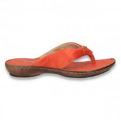Saboti infradito, din piele naturala, pentru femei, portocalii - LS423