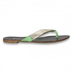 Papuci dama infradito, verde-auriu - LS424