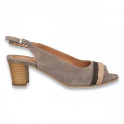 Sandale piele intoarsa, cu toc mic, taupe - LS420