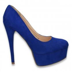Pantofi femei extravaganti, din textil, albastru - LS427