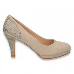Pantofi cu strasuri, din imitatie velur, bej - LS428