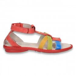 Sandale fete, din piele, cu barete multicolore - LS429