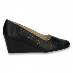 Pantofi femei din piele, cu platforma mica, negri - LS433