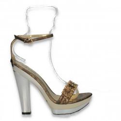 Sandale glami pentru dama, cu bareta pe glezna, aurii - LS436