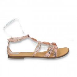 Sandale dama, cu talpa joasa si animal print, roz - LS438