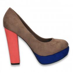 Pantofi in 3 culori, cu toc masiv, pentru femei - LS446