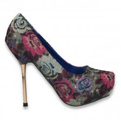 Pantofi dama din satin, cu imprimeu floral - LS448