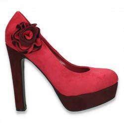Pantofi femei extravaganti, din textil, fucsia - LS449