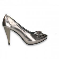 Pantofi femei eleganti, cu decupaje, argintii - LS453