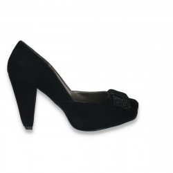 Pantofi femei cu toc gros, velur negru - LS457