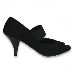 Pantofi femei cu bareta elastica, velur negru - LS462