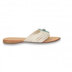 Papuci dama infradito, cu pietre, albi - LS465