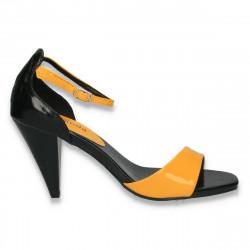 Sandale glami pentru dama, din lac, galben-negru - LS467