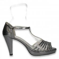 Sandale glami pentru dama, cu barete subtiri, argintii - LS469