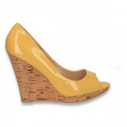 Sandale dama, cu platforma inalta din pluta, galbene - LS470