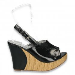 Sandale dama, cu platforma inalta, impletita, negre - LS471