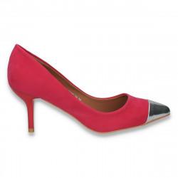 Pantofi eleganti, cu varf argintiu si toc mic,  fucsia - LS472