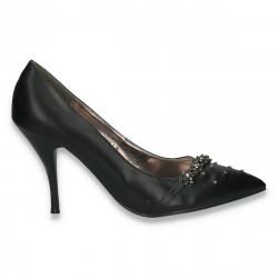 Pantofi eleganti, pentru femei, cu varf ascutit, negri - LS476