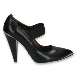 Pantofi eleganti din piele, pentru femei, cu toc gros, negri - LS477