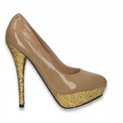 Pantofi dama glami, cu toc stiletto, taupe - LS480