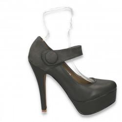 Pantofi dama glami, cu barteta si toc inalt, gri - LS481