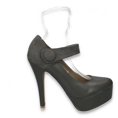 Pantofi dama glami, cu bareta si toc inalt, gri - LS481