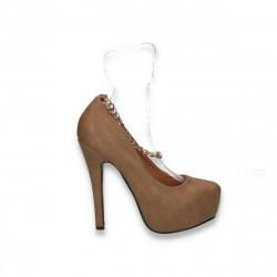 Pantofi dama glami, cu lant pe glezna, maro - LS482