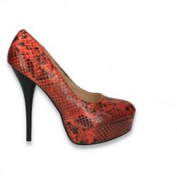 Pantofi femei extravaganti, cu imprimeu croco, portocalii - LS483