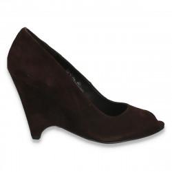 Pantofi din piele intoarsa, pentru femei, cu platforma inalta, maro  - LS484