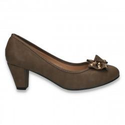 Pantofi femei office, cu fundita si toc gros, maro - LS486