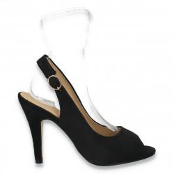 Pantofi din velur, pentru femei, negri - LS487