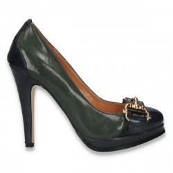 Pantofi femei cu toc inalt, verde-bleumarin - LS488