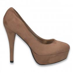 Pantofi femei extravaganti, din textil, taupe - LS490