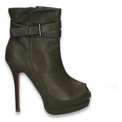 Botine de vara fashion, pentru femei, kaki - LS491