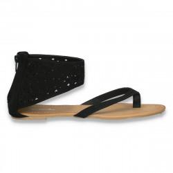Sandale dama, cu talpa joasa, infradito, negre - LS493