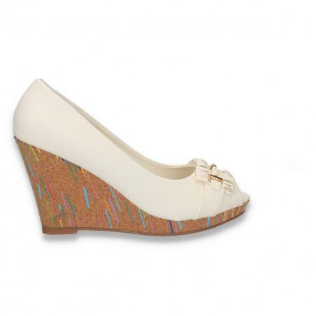 Sandale dama, cu platforma inalta din pluta, albe - LS496