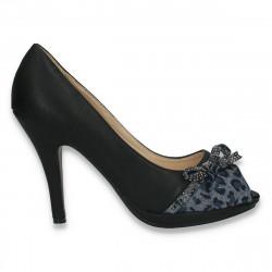 Pantofi femei, cu toc inalt, negri - LS499