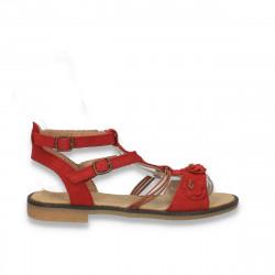 Sandale din piele intoarsa, pentru fetite, rosii - LS502