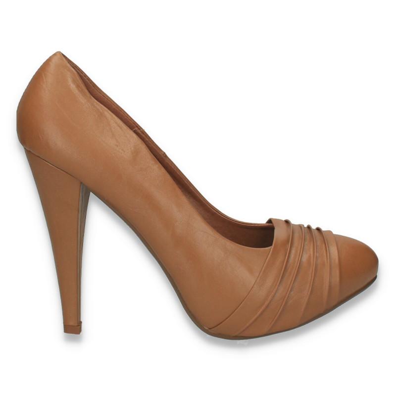 Pantofi femei cu toc inalt si platforma ascunsa, maro - LS504