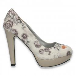 Pantofi dama fashion, din material textil, cu imprimeu floral, gri- LS509