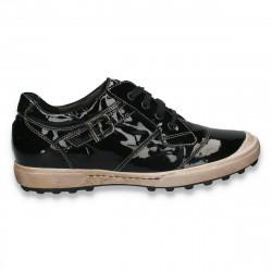 Pantofi femei casual cu siret, din lac, negri - LS510