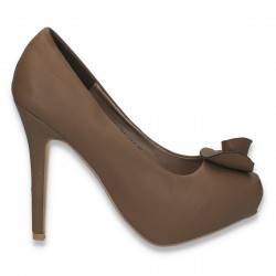 Pantofi femei cu platforma ascunsa, taupe - LS511