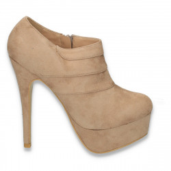 Pantofi dama inalti, din imitatie velur, bej - LS515
