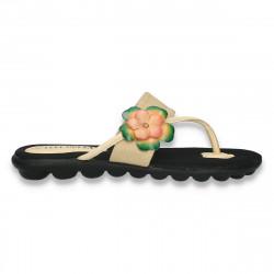 Papuci dama infradito, din panza, bej - LS518