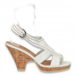 Sandale dama cu talpa de pluta, albe - LS519