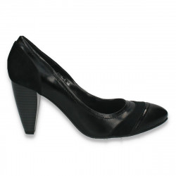 Pantofi femei office, din piele, cu toc gros, negri - LS520