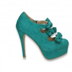 Pantofi femei, cu platforma si barete cu fundite, verde  - LS521