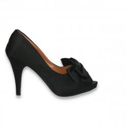 Pantofi dama din satin, cu fundita mare, negri - LS525
