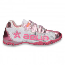 Pantofi sport de vara, pentru fete, alb-fucsia - LS528